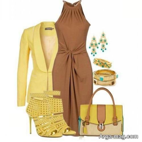 ست لباس قهوه ای و زرد برای پوست روشن