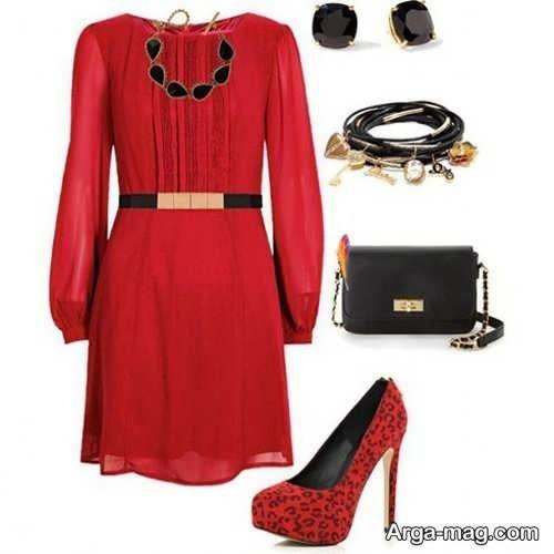 ست لباس زنانه قرمز