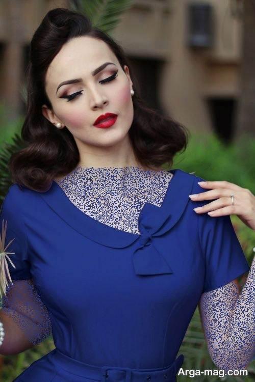 ست آرایش با لباس آبی