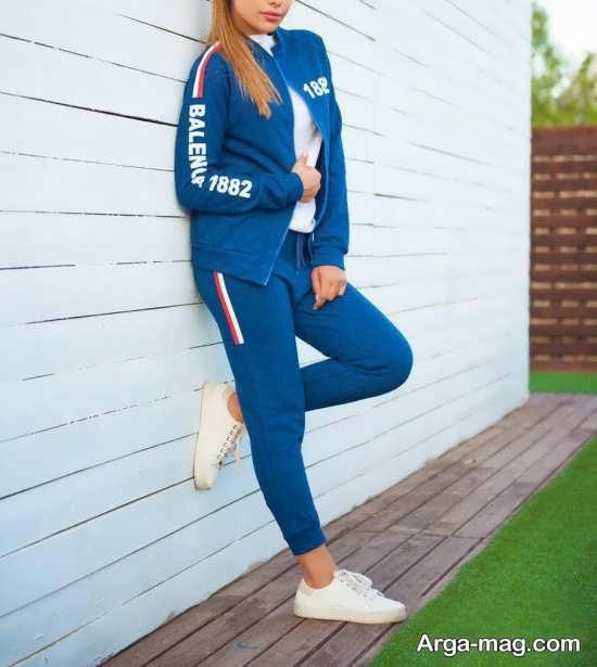 مدل ست ورزشی دخترانه آبی رنگ