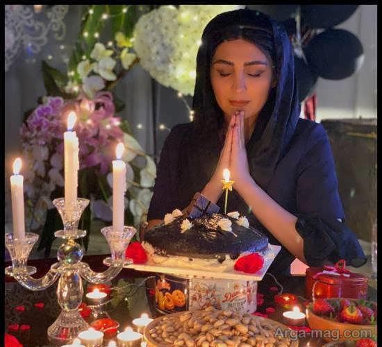 پوشش متفاوت مریم معصومی در جشن تولد قرنطینه ای