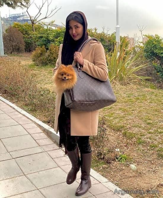 عکس منتشر شده ی مریم معصومی برای تبلیغ کیف مخصوص حیوانات خانگی