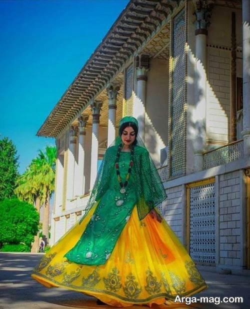 لباس بختیاری سبز و زرد