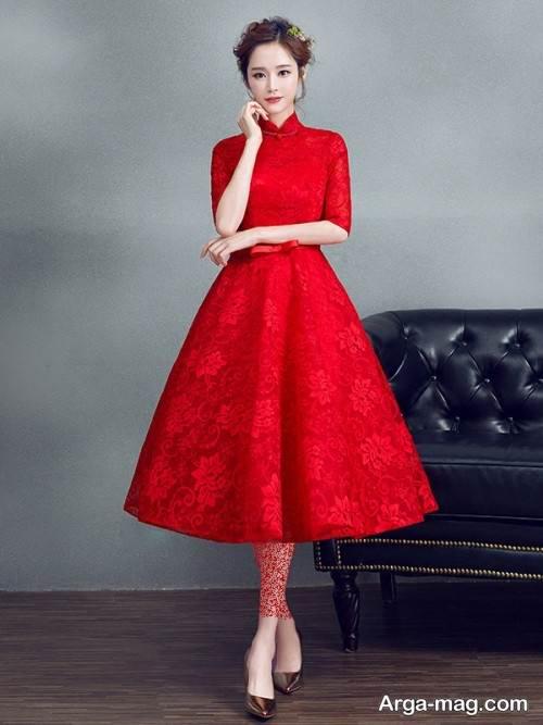 مدل لباس مجلسی قرمز یقه بسته