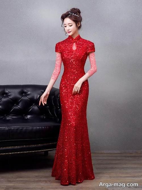 مدل لباس مجلسی یقه بسته بلند