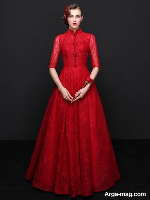 مدل لباس مجلسی قرمز با یقه بسته