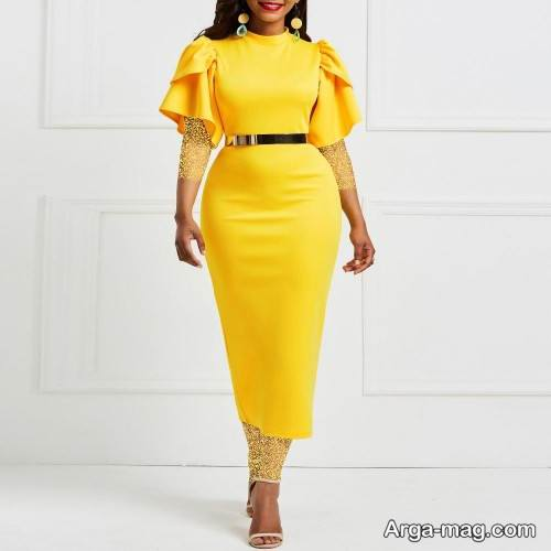 لباس مجلسی زرد یقه بسته