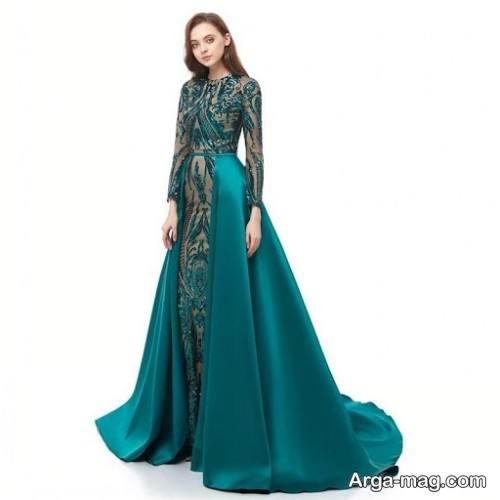 مدل لباس مجلسی یقه بسته سبز