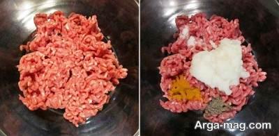 مخلوط گوشت چرخ کرده و پیاز