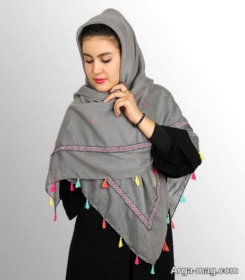 روسری نخی طوسی