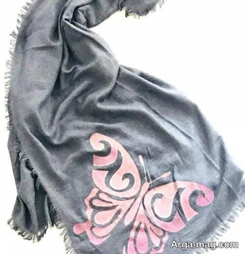 روسری نخی صورتی و طوسی