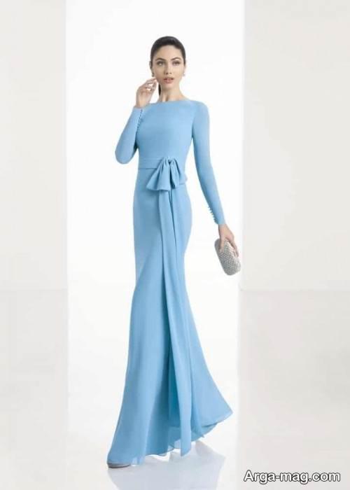 مدل پیراهن مجلسی پوشیده آبی