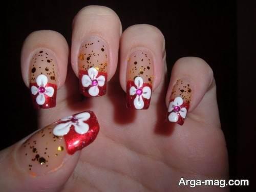 دیزاین ناخن زنانه به شگل گل