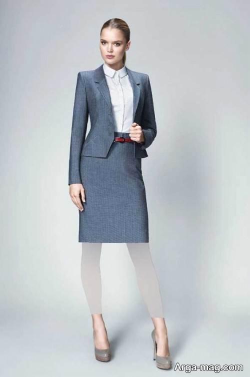 مدل کت و دامن رسمی و رنگ تیره