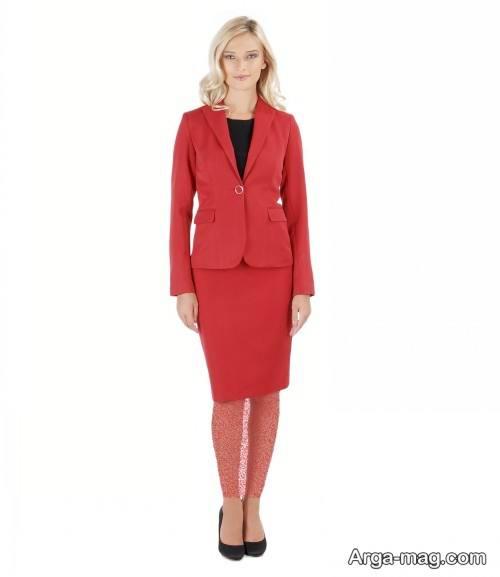 کت دامن قرمز زنانه