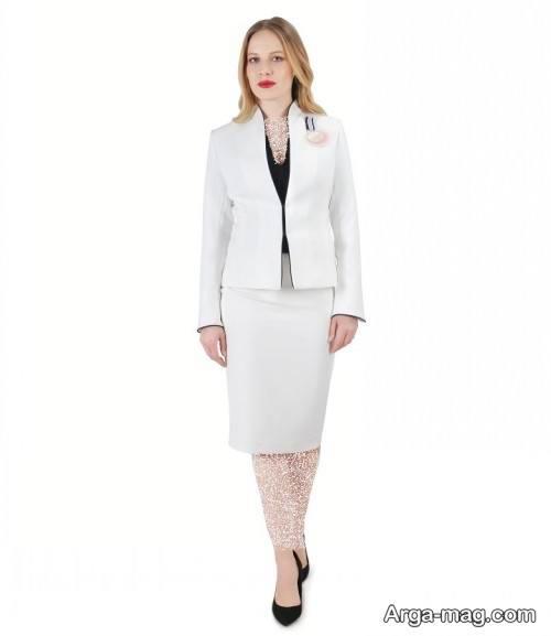 کت دامن سفید زنانه