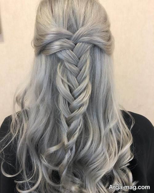 رنگ مو دخترانه طوسی