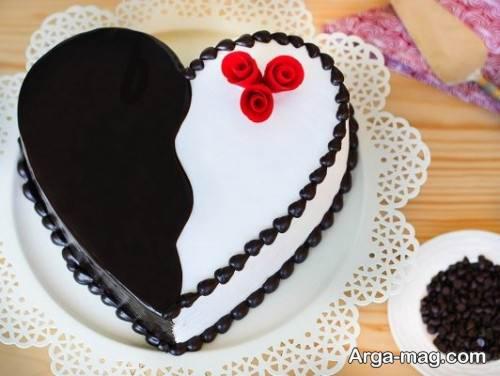 کیک قلبی دو رنگ