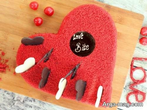 کیک مخملی قلبی