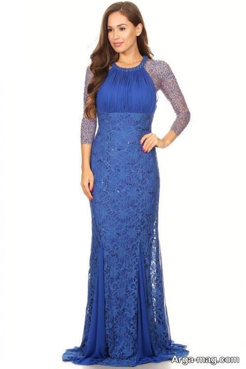 مدل لباس مجلسی توری آبی