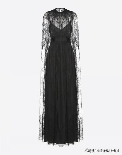مدل لباس مجلسی توری بلند و مشکی