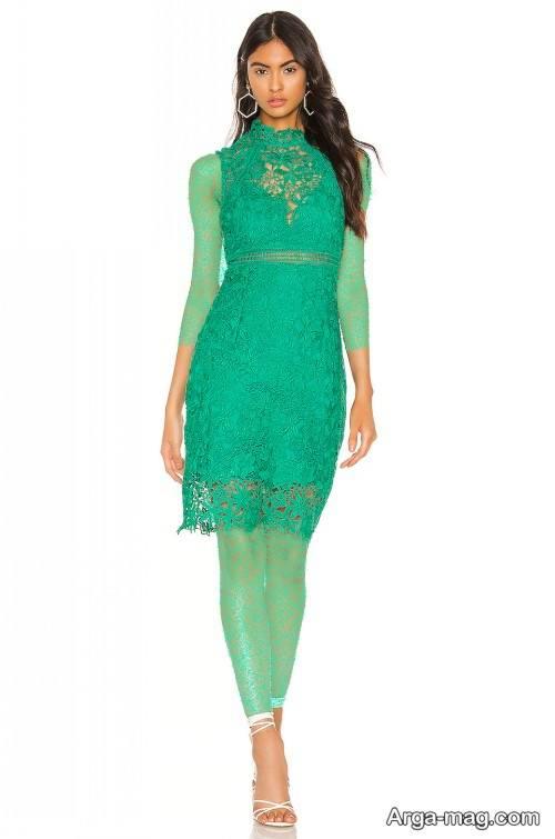 مدل لباس مجلسی توری سبز