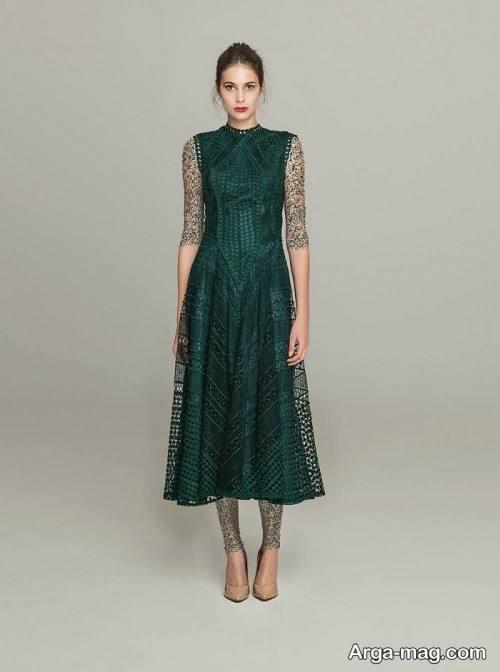 مدل لباس توری سبز