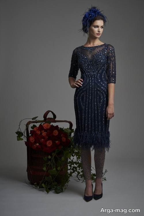 مدل لباس توری رنگ تیره