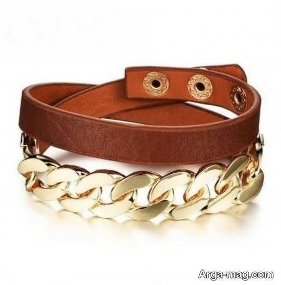 مدل دستبند چرم طلا