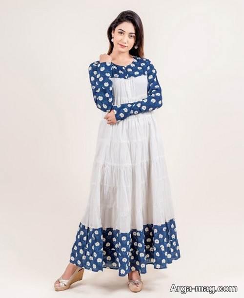 مدل لباس نخی بلند دو رنگ