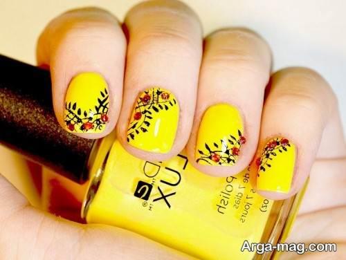 طراحی ناخن دخترانه با لاک زرد