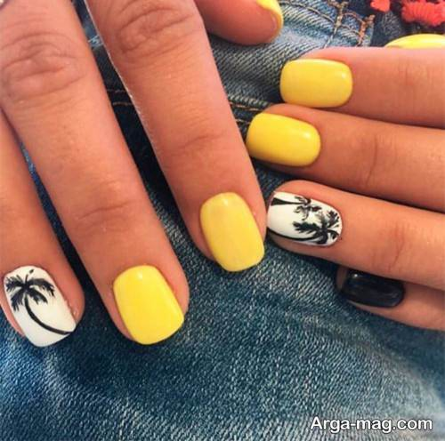 دیزاین ناخن شیک با لاک زرد