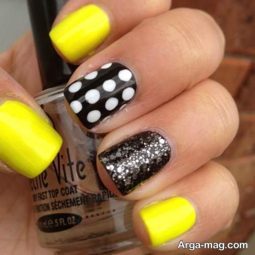 دیزاین ناخن با لاک مشکی و زرد