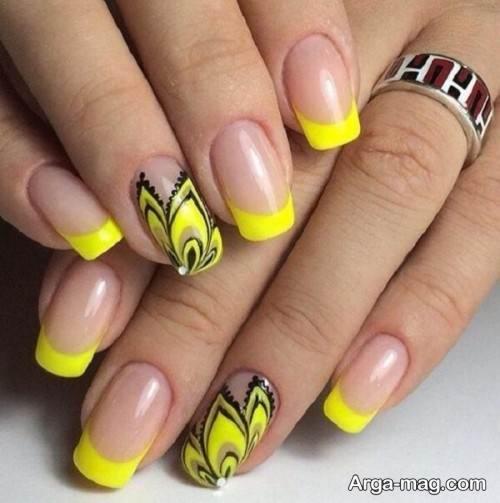 دیزاین ناخن زیبا و جذاب با لاک زرد
