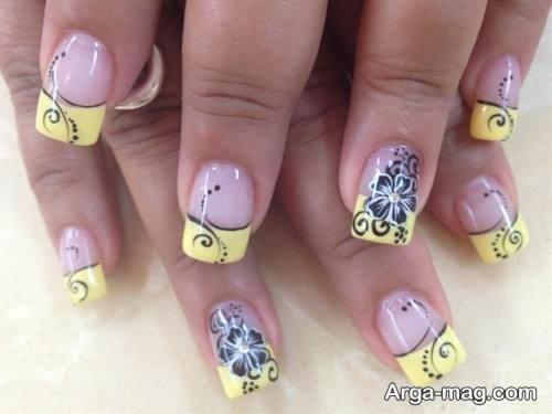 طراحی ناخن مجلسی زنانه با لاک زرد