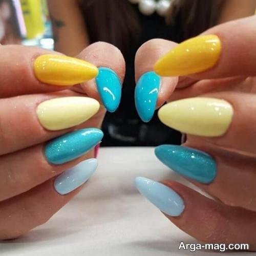 دیزاین ناخن با لاک زرد و آبی