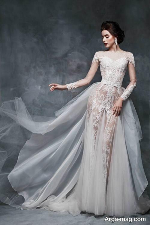 مدل لباس عروس روسی طرح دار