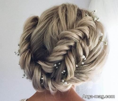 شینیون همراه با بافت مو برای عروس