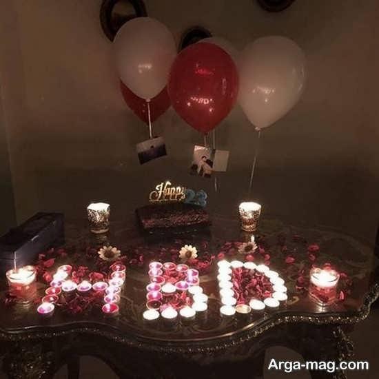 تزیین عاشقانه تولد با شمع