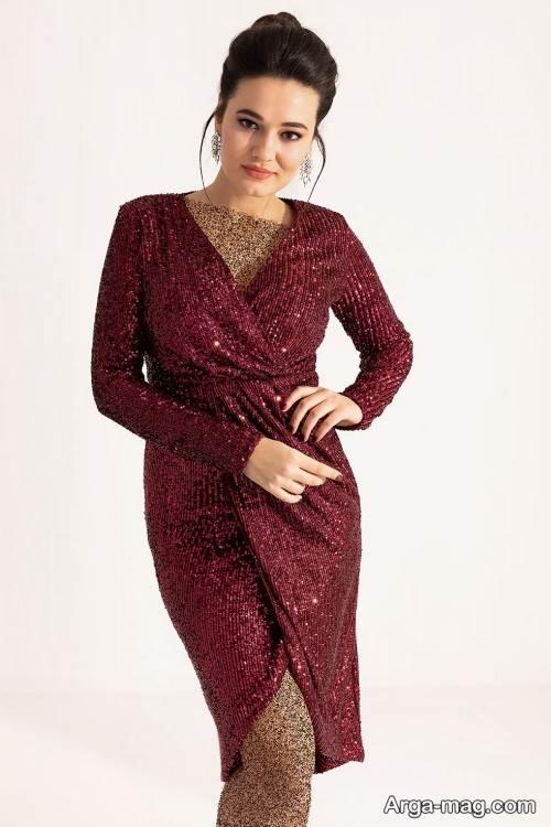 مدل لباس شب با پارچه پولکی