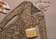 لباس شب با پارچه پولکی
