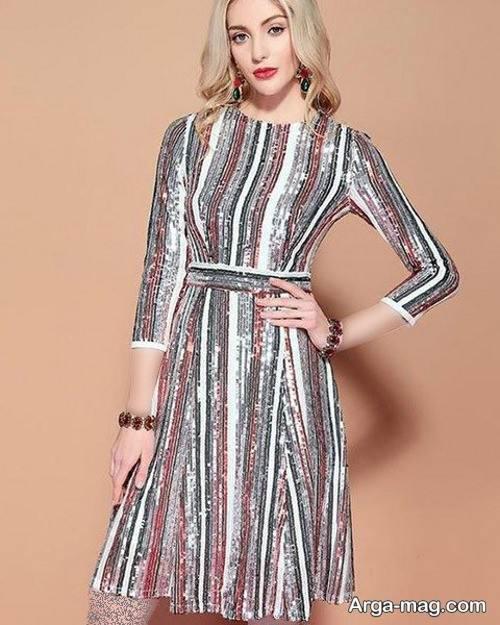 مدل لباس شب طرح دار