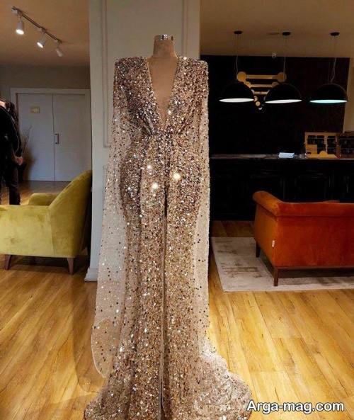 لباس شب بلند با پارچه پولکی
