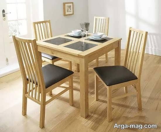میز ناهارخوری 4 نفره با طرح چوب