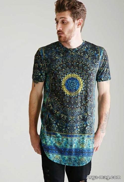 تی شرت طرح دار لانگ
