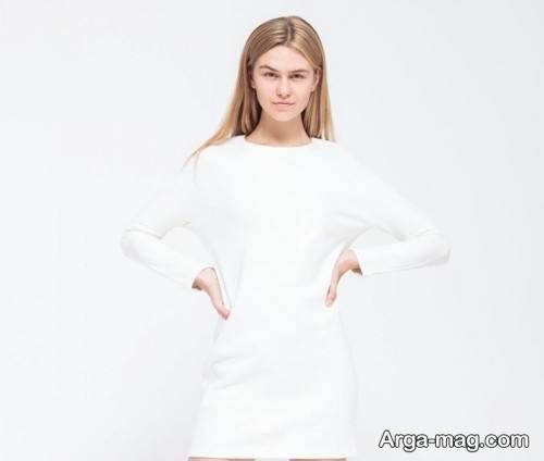 تونیک سفید و ساده برای افراد لاغر