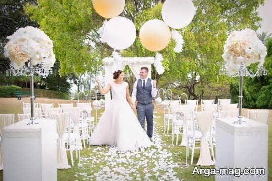 تزیینات شیک عروسی در باغ