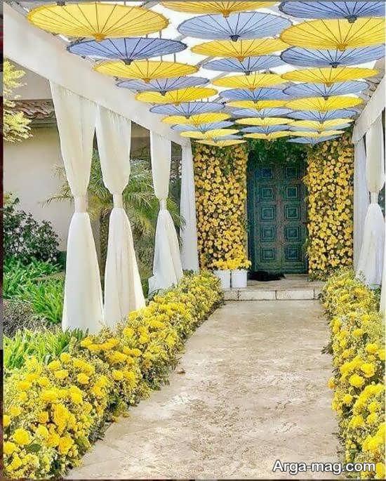 تزیین جذاب عروسی در باغ