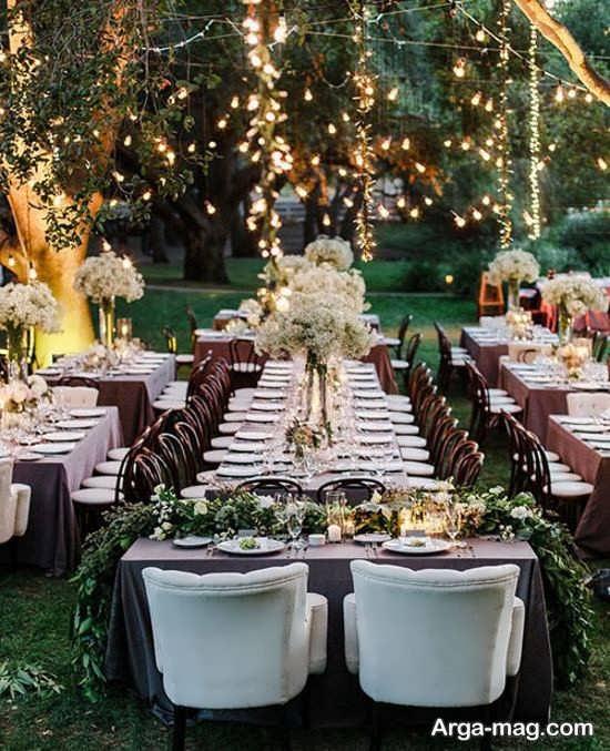 تزیین شیک عروسی در باغ