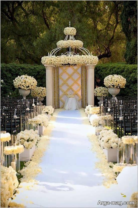 دیزاین زیبای عروسی در باغ
